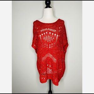 Unite colors of Benetton Red Crochet Tunic Boho